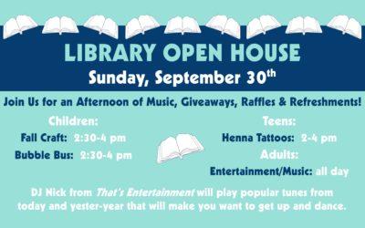 Library Open House Celebration: September 30th