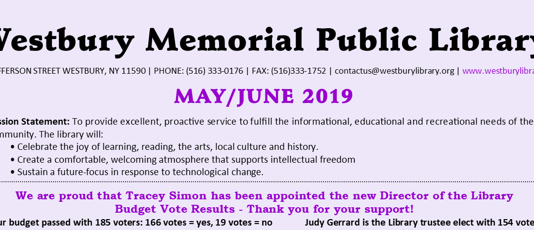 May / June 2019 Newsletter