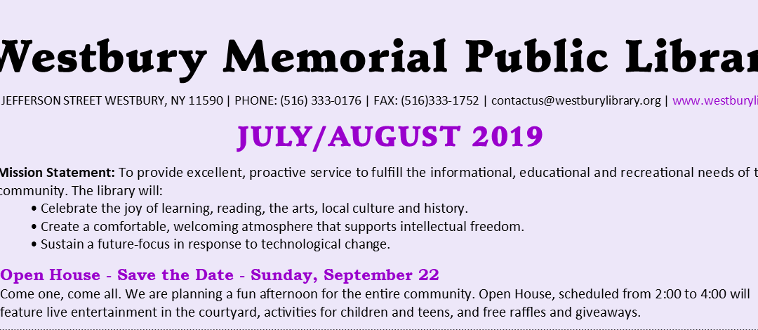 July / August 2019 Newsletter