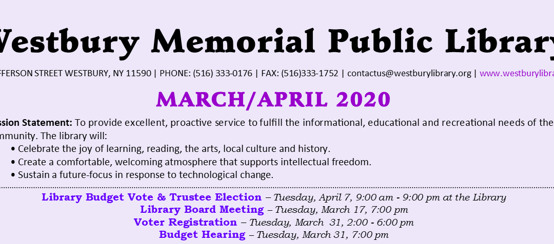 March / April 2020 Newsletter